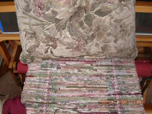 Placemats on loom with pillow as sample colors
